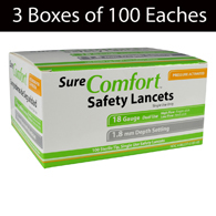 Allison Medical SureComfort Safety Lancets-3 Boxes of 100