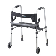 Drive 10233 Clever Lite LS Walker Rollator w/ Seat & Push Down Brakes